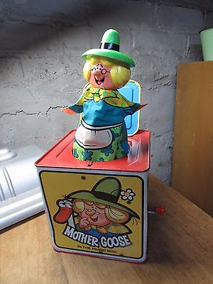 Vintage 1971 Mother Goose Mattel Tin Toy Jack In The Box