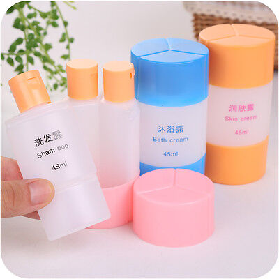 3 In 1 Plastic Empty Storage Bottle Shampoo Shower Gel Emulsion Bath Travel 45ml