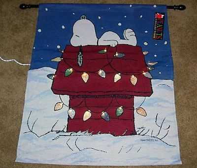 Peanuts Christmas Snoopy Tapestry Wall Hanging LIGHTED!