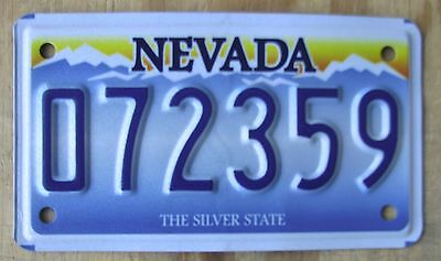 NEVADA  EMBOSSED MOTORCYCLE license plate   Oct2013  072359