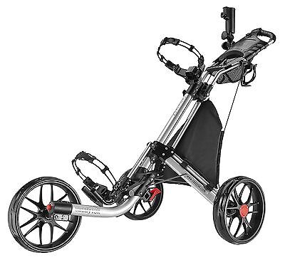 Caddytek EZ Quickfold Deluxe 3 Wheel Golf Push Trolley silver Coolbag NEW 2016