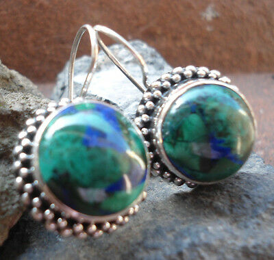 925 Sterling Silver-LH25-Balinese Handcrafted Round Earring Chrysocolla Stone