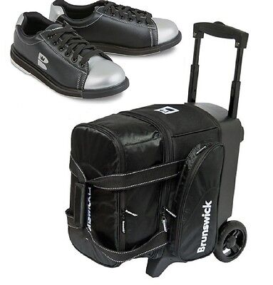 Brunswick 1 Ball Roller Bowling Bag with Wheels & Matching Boys Shoes Size 2