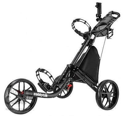 Caddytek EZ Quickfold Deluxe 3 Wheel Golf Push Trolley Charcoal black Coolbag