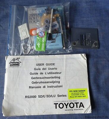 Toyota RS2000 Sewing Machine Manual & Accessories, Feet. Needles, Tools etc