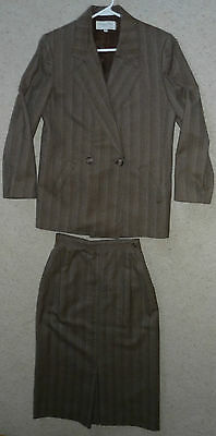 Vtg Christian Dior 100% Pure Wool 2pc Set Suit jacket blazer & long skirt Size 8