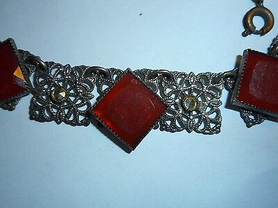 Antique Victorian 100 Year Old Red Carnelian & Marcasite Necklace Choker Filigre