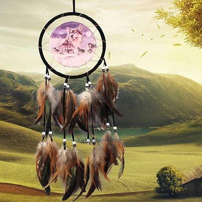 Handmade Dream Catcher With Feathers Wall Hanging Decoration Ornament-Wolf NEW