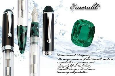 WANCHER CRYSTAL DOUBLE COMPACT Transparent Demonstrator Green Body Fountain Pen