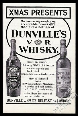 1910 Dunville's Old Irish Whisky & Special Liqueur 2 bottle photo Xmas print ad
