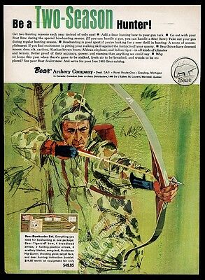1965 Fred Bear Archery bow hunter hunting color art vintage print ad