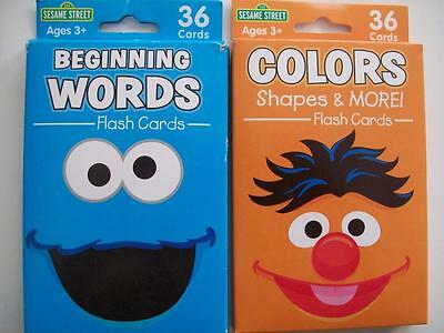 Sesame Street Colors, Shapes & More!, Begining Words Flash Cards (2) (New)