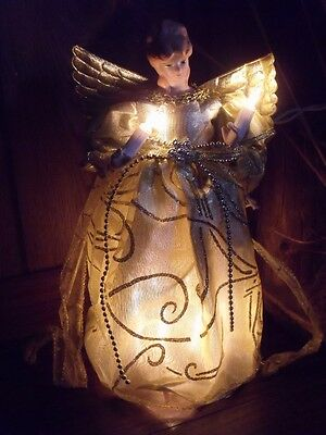 Christmas Lighted Porcelain Angel Gold & Silver Beads Dress Tree Topper Figure