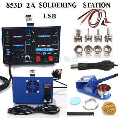 YiHUA-853D 15V 2A 3in1 Electric USB SMD Rework Soldering Station Hot Air Gun Kit