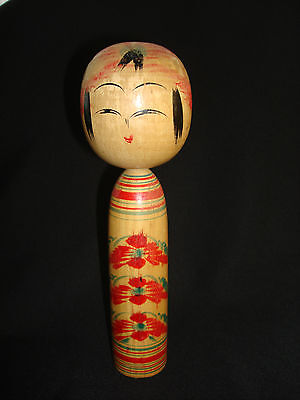 """Japanese. Antique Wooden Kokeshi Doll Traditional Togatta Vintage Signed 9 3/4"""""""