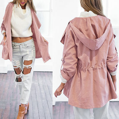 Women Warm Hooded Long Coat Jacket Trench Windbreaker Parka Outwear Cardigan HOT