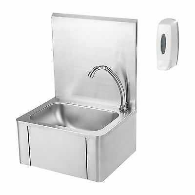 Stainless Steel Knee Operated Hand Wash Basin Sink Taps Soap Dispenser Included