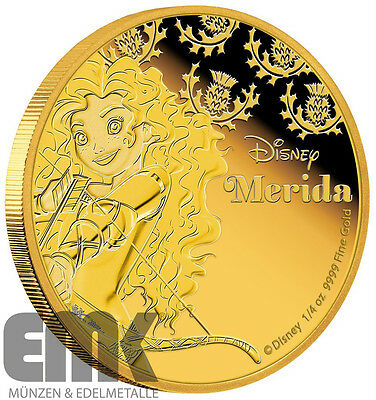 Niue - 25 Dollar 2016 - Merida - Disney Prinzessinnen (9.) - 1/4 Unze Gold PP