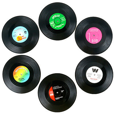 Pack of 6 Assorted Retro Vinyl Drink Coasters - By TRIXES