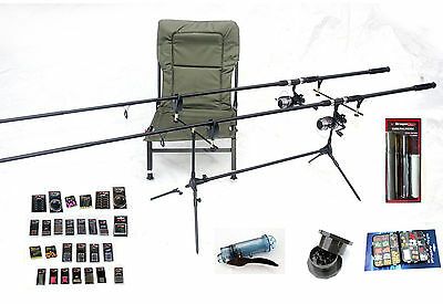 Carp Fishing Start up set kit -Rods reels,pod,alarms chair,baits,line & more(MC)