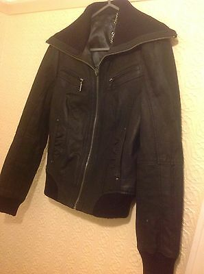 TAMMY GIRLS BLACK LEATHER JACKET 152-158cm GOOD CONDITION