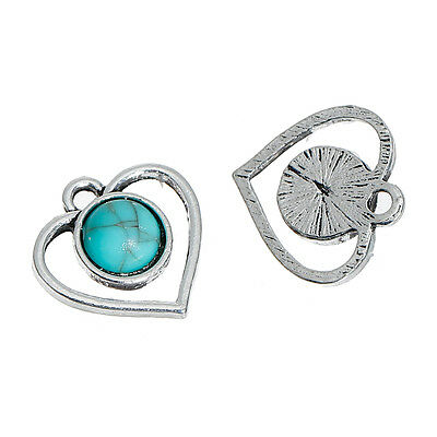 10 Heart Charms Round Imitation Turquoise Stone Antique Silver Tone 16mm J83842