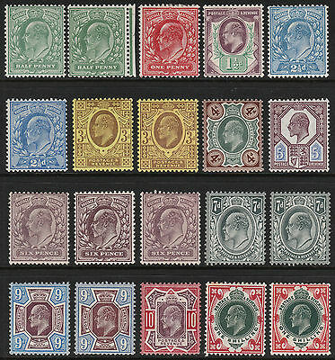 1902/13 EDWARD VII MINT HINGED UNSORTED SELECTION 1/2d TO 1s LOVELY FRESH LOT