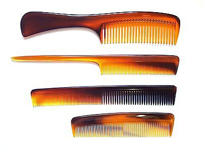Wood T Shell Effect Plastic Hair Combs Set x 4 UK Made Handle Pocket Barber Tail