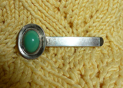 Sterling Silver Tie Bar Large Turquoise Stone Mexico Pre-Eagle Mark