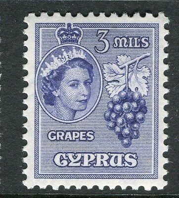 CYPRUS;  1955 early QEII issue fine Mint hinged 3m. value
