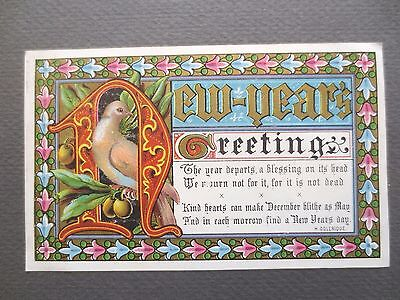 Antique New Year Greetings Card Good All Dove & Olive Branch Coleridge Victorian