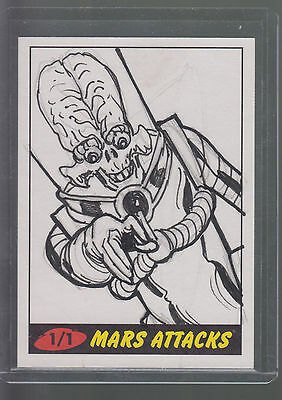 2012 Mars Attacks Heritage Sketch Card With Artist's Signature 1/1 Alien