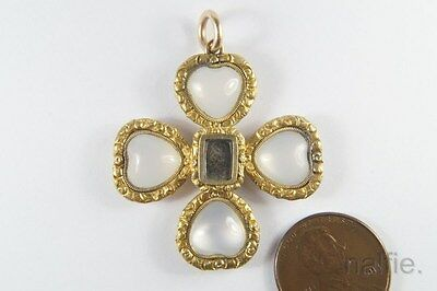 ANTIQUE ENGLISH EARLY VICTORIAN GOLD CHALCEDONY HEART CROSS PENDANT c1840