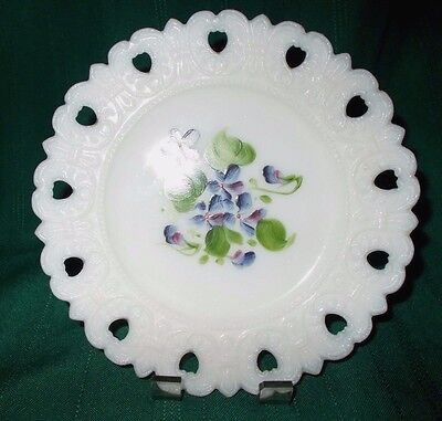 "6-1/4"" Inverted Heart Milk Glass Plate with violets"