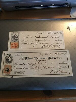 Obsolete Bank Check 1869 & 1873First National Bank Ohio & Norwalk? w/ Stamps