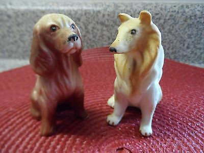 2 1950s Dog Figurines Collie and Coker Spaniel one with Andrea By Sadek label