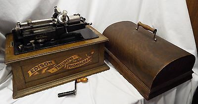 Antique EDISON TRIUMPH Cylinder Record PHONOGRAPH w/ Model C Reproducer WORKS