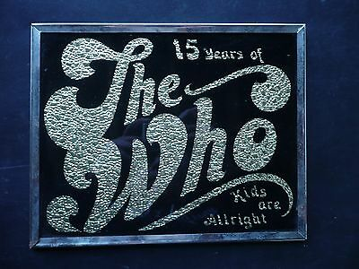 """1980S The Who, 15 Years,  Carnival Prize Painted Glass Hanging Frame, 8"""" X 10"""""""
