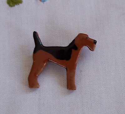 Beautiful Airedale Terrier Welsh Pin Brooch Breed Dog New Clay Pottery Sweet