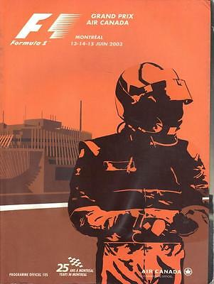 Formula 1 Grand Prix Air Canada Montreal 13-15.06.2003 Official Program