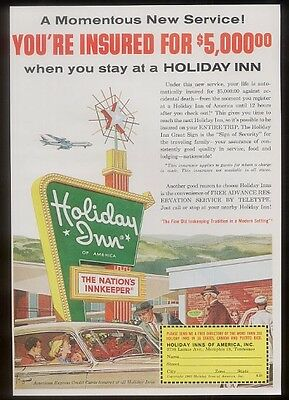 1963 Holiday Inn classic green sign & car vacation family vintage print ad