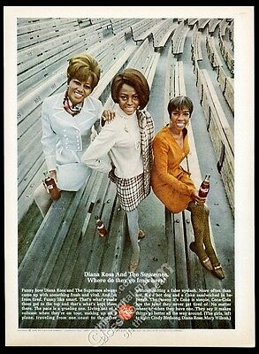 1968 Diana Ross and the Supremes photo Coca-Cola Coke vintage print ad