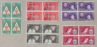 Togo Scouting 1961 Churchill 1965 CTO Blocks of Stamps