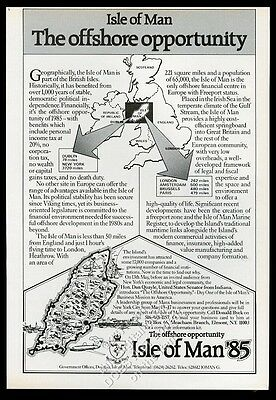 1985 Isle of Man offshore banking tax haven map vintage print ad