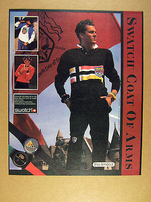 1986 Swatch watch Coat of Arms Collection watches clothing vintage print Ad