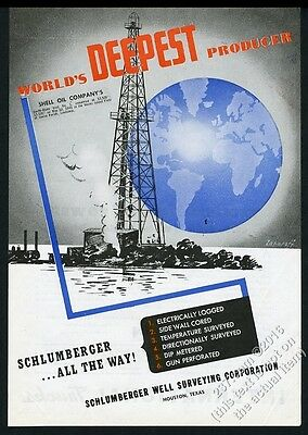 1945 Schlumberger oil well surveying world's deepest vintage print ad