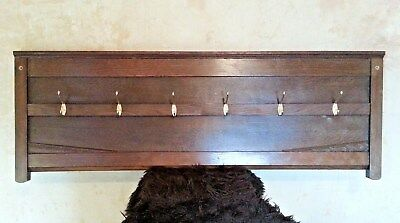 Wall Mounted Coat Rack w Brass Coat Hooks - Reclaimed Vintage Oak