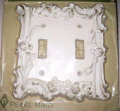 NIP Vintage White Gold Metal Electric Wall Double Switch Plate Cover Made in USA