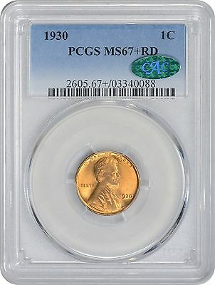1930 Lincoln Cent MS67+RD PCGS Mint State 67 Red (CAC)