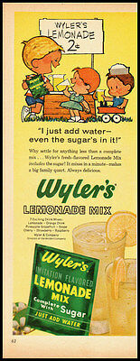1950s vintage ad for Wyler's lemonade Mix  -011612